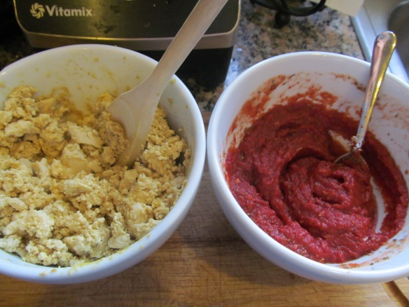 "Tofu ""feta"" on the left and yummy pizza sauce on the right!"