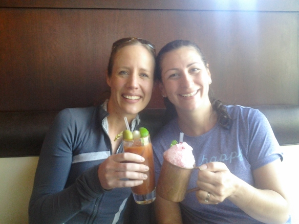 Bloofy Mary for Andrea, Pomegranate Mint Julep slushee for me and CHEERS to a fantastic running adventure!