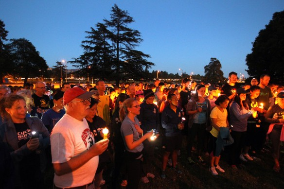 Vigil at Snow Park in honor of the Boston Marathon (photo credit: See Jane Run)